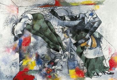 Картина Сергея Ковригина «Умер художник», 1985, оргалит, холст, масло, 90х130 Рязанский областной художественный музей